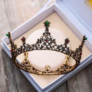 Vintage / Retro Baroque Bronze Tiara 2018 Metal Rhinestone Green Red Beading Accessories