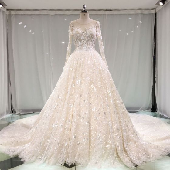Best Champagne See-through Wedding Dresses 2019 A-Line / Princess Scoop Neck Pierced Long Sleeve Backless Appliques Lace Pearl Cathedral Train Ruffle