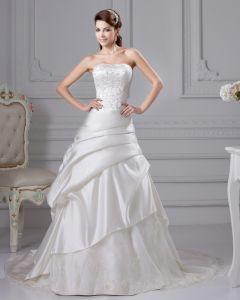 Taft Stickerei Rüsche Gericht A Linie Hochzeitskleid Brautkleider