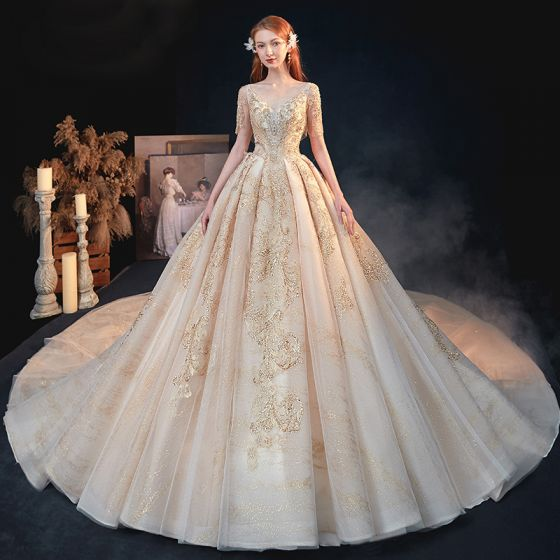 Luxury / Gorgeous Gold Bridal Wedding Dresses 2020 A-Line / Princess V-Neck Short Sleeve Backless Appliques Sequins Beading Glitter Tulle Cathedral Train Ruffle