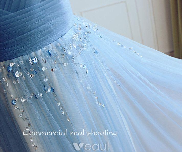 Robes De Soirée Glamour 2017 V-cou Volanté Tulle Avec Sequins Gland Robe Longue