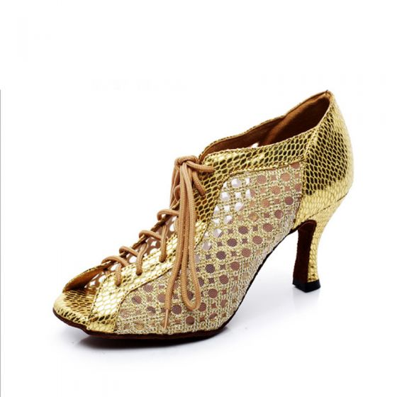 Modern / Fashion Gold Latin Dance Shoes 2020 Patent Leather Snakeskin Print Dancing Prom Womens Shoes