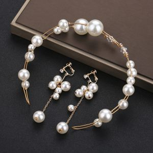 Chic / Beautiful Gold Headpieces Bridal Hair Accessories 2020 Metal Crystal Pearl Headbands Earrings Wedding Accessories