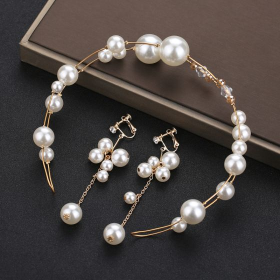 Chic / Beautiful Gold Headpieces Bridal Hair Accessories 2020 Metal Crystal Pearl Headbands Earrings Wedding Accessories