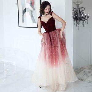 Charming Burgundy Evening Dresses  2020 A-Line / Princess Suede Spaghetti Straps Sequins Sleeveless Backless Floor-Length / Long Formal Dresses