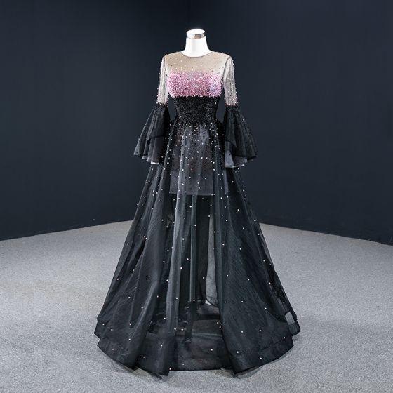 Magnífico Negro Bailando Vestidos de gala 2020 A-Line / Princess Transparentes Scoop Escote Mangas de campana Rosa Rebordear Lentejuelas Largos Ruffle Vestidos Formales