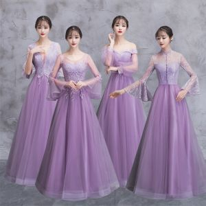 Elegant Lilac See-through Bridesmaid Dresses 2018 A-Line / Princess Long Sleeve Appliques Lace Floor-Length / Long Ruffle Backless Wedding Party Dresses