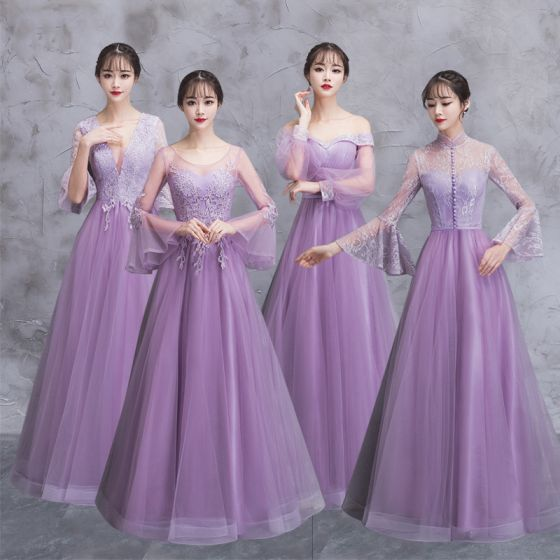 c179b7381a7 Elegant Lilac See-through Bridesmaid Dresses 2018 A-Line   Princess Long  Sleeve Appliques Lace Floor-Length ...