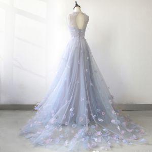 Fée Des Fleurs Bleu Ciel Transparentes Robe De Soirée 2018 Princesse Encolure Dégagée Sans Manches Appliques Fleur Tribunal Train Volants Dos Nu Robe De Ceremonie