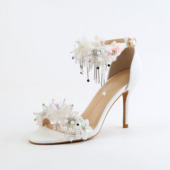 Elegant Ivory Wedding Shoes 2018 Appliques Crystal Pearl Sequins Buckle 9 cm Stiletto Heels Open / Peep Toe Wedding High Heels