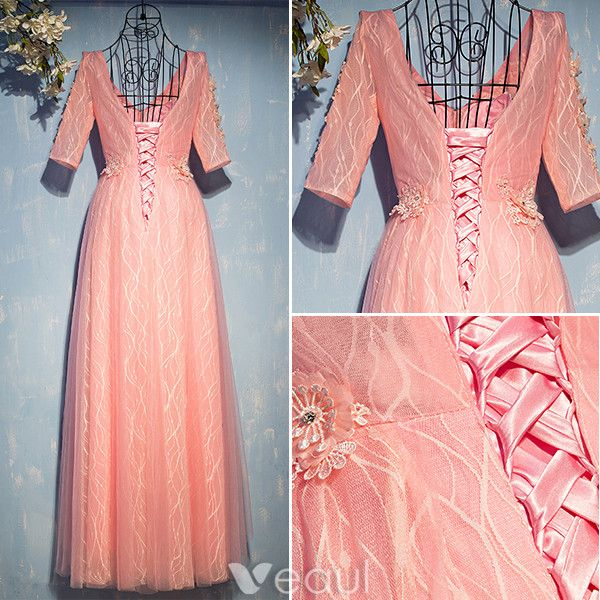 Flower Fairy Evening Dresses 2017 V-neck Applique Flowers Striped Pearl Pink Lace Long Dress