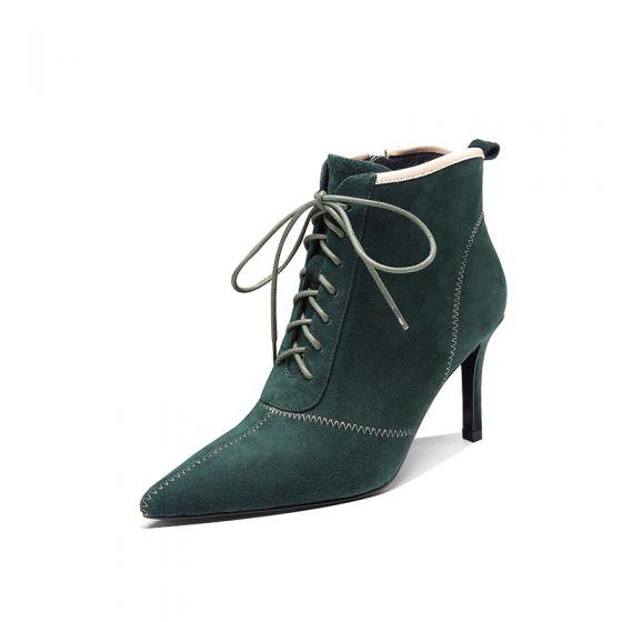 Hermoso Invierno Verde Oscuro Ropa de calle Suede Botas de mujer 2020 Cuero 8 cm Stilettos / Tacones De Aguja Punta Estrecha Botas