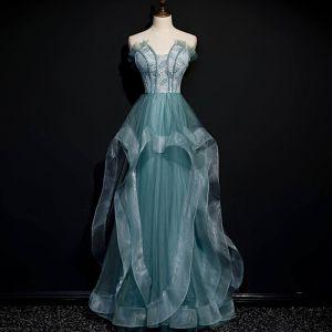 Meilleur Vert Cendré Dansant Robe De Bal 2020 Princesse Bustier Sans Manches Perlage Longue Volants Dos Nu Robe De Ceremonie