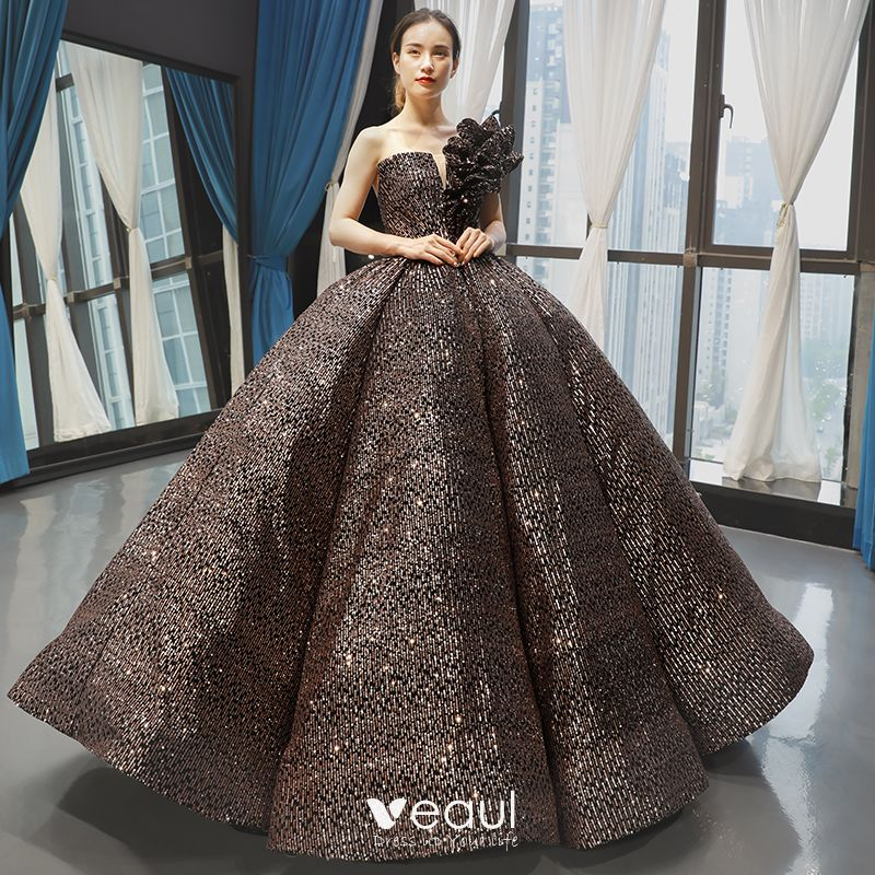 Sparkly Black Gold Sequins Dancing Prom Dresses 2020 Ball Gown