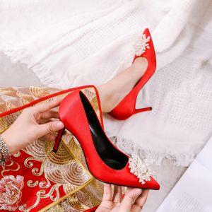 Elegantes Rojo Perla Zapatos de novia 2020 Cuero 9 cm Stilettos / Tacones De Aguja Punta Estrecha Boda Tacones