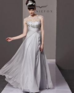Scoop Neck Rhinestone Sleeveless Button Floor Length Tencel Woman Evening Dress