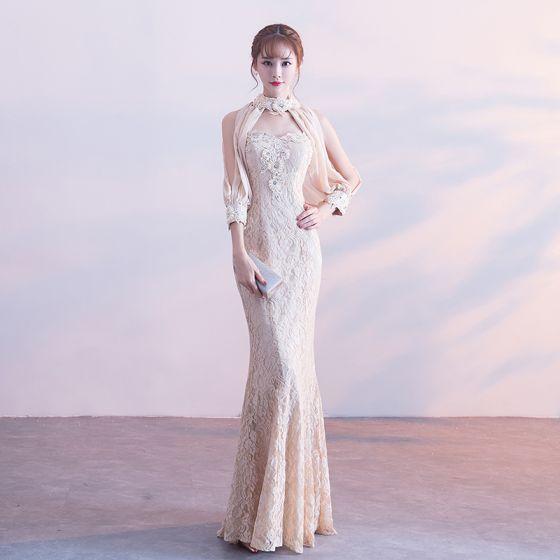 Hermoso Champán Vestidos de noche 2017 Trumpet / Mermaid De Encaje Sin Tirantes Apliques Rebordear Rhinestone Noche Vestidos Formales