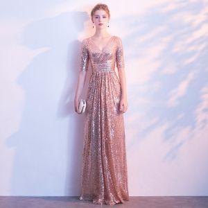 Sparkly Blushing Pink Gold Evening Dresses  2018 A-Line / Princess Sequins V-Neck Backless 1/2 Sleeves Floor-Length / Long Formal Dresses
