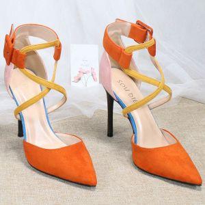 Piękne Pomarańczowy Zużycie ulicy Zamszowe Sandały Damskie 2020 X-Bar 10 cm Szpilki Szpiczaste Sandały