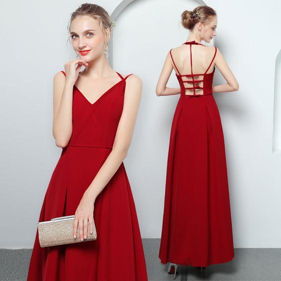Mode Rot Abendkleider 2018 A Linie Spaghettitrager Armellos