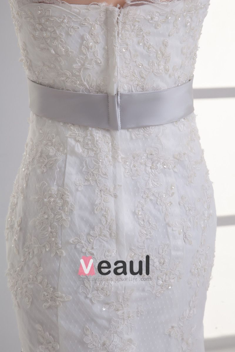 Tulle Applique Beading Strapless Court Train Mermaid Wedding Dress