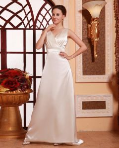 Stylish Sleeveless Waistband V Neck Floor Length Sweep Satin Celebrity Dress