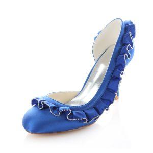 Klassieke Blauwe Satijnen Trouwschoenen 8 Cm Hoge Hakken Stiletto Hakken Pumps
