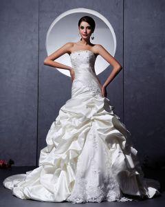 Satin Verschönerung Rüscheapplique Schatz Kapelle A-linie Hochzeitskleid Brautkleider