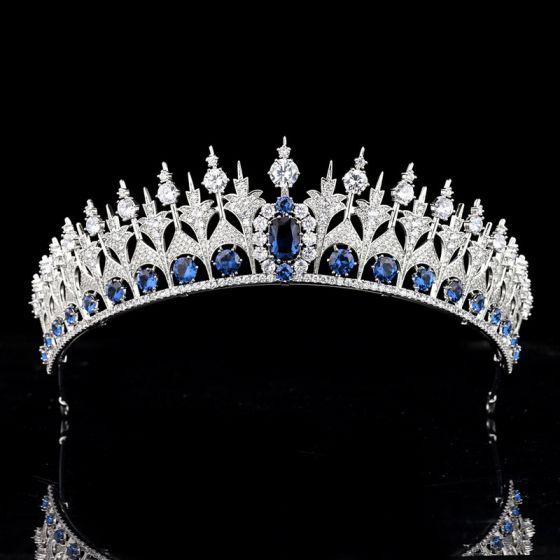 High-end Koninklijk Blauw Zirkonium Tiara Bruids Haaraccessoires 2020 Koper Rhinestone Huwelijk Accessoires