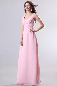 2015 Niedliche V-ausschnitt Reißverschluss Lange Brautjungfernkleider