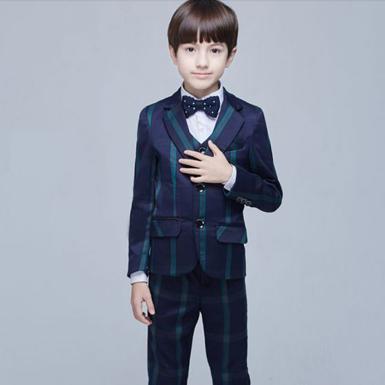 Modest / Simple Navy Blue Long Sleeve Boys Wedding Suits Dark Green Red Striped 2017