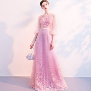 Illusion Candy Pink See-through Evening Dresses  2018 A-Line / Princess Puffy 3/4 Sleeve Square Neckline Appliques Lace Sash Floor-Length / Long Ruffle Formal Dresses