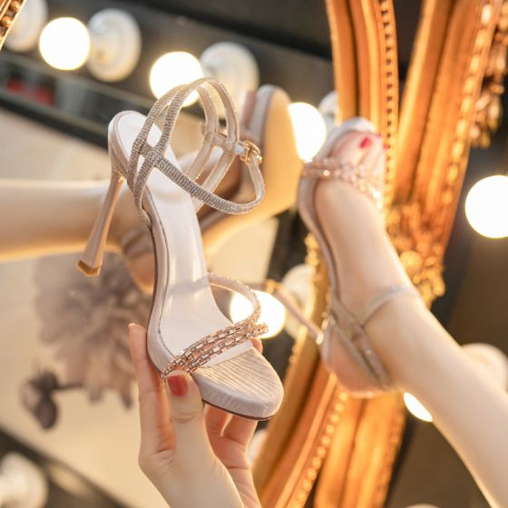 Sexy Champagne Evening Party Rhinestone Womens Sandals 2021 10 cm Stiletto Heels Open / Peep Toe Sandals High Heels