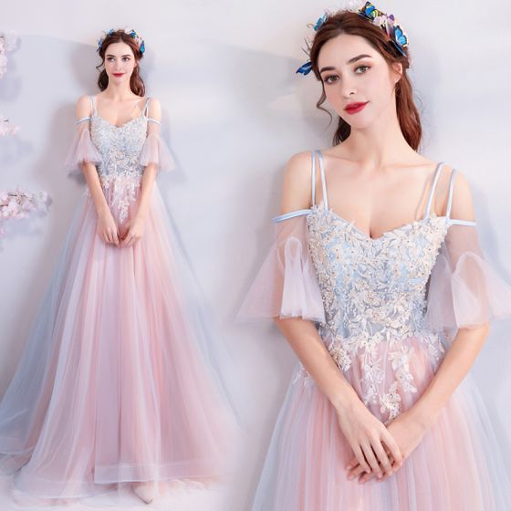 Elegant Sky Blue Pearl Pink Evening Dresses  2018 A-Line / Princess Spaghetti Straps Strapless 1/2 Sleeves Appliques Lace Pearl Rhinestone Floor-Length / Long Ruffle Backless Formal Dresses