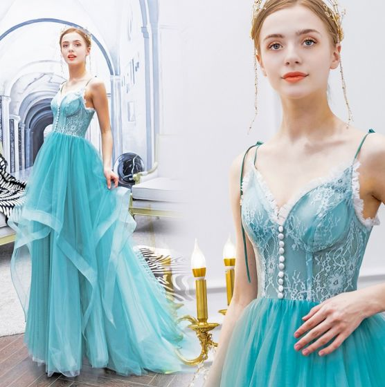 Charmant Vert Jade Robe De Bal 2019 Princesse Bretelles Spaghetti Noeud Boutons En Dentelle Fleur Sans Manches Dos Nu Train De Balayage Robe De Ceremonie