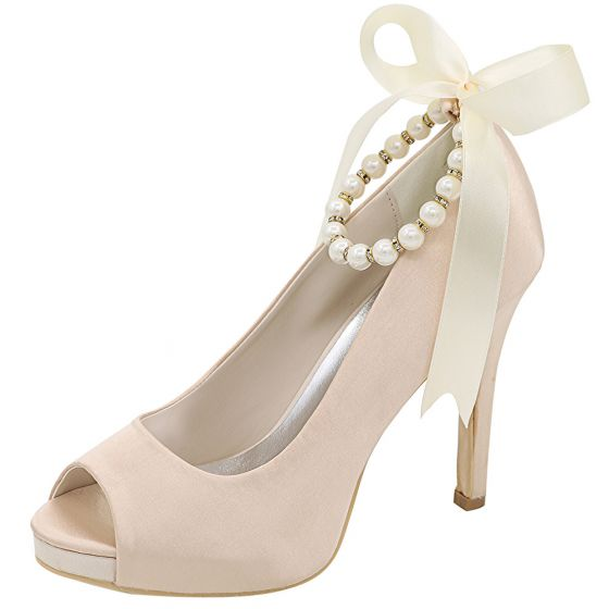 Classy Champagne Evening Party Satin Pumps 2020 Bow Pearl Ankle Strap 11 cm Stiletto Heels Open / Peep Toe Pumps