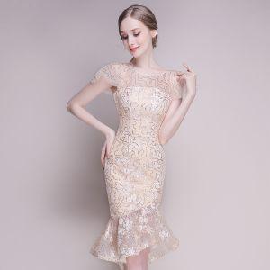 Bling Bling Szampan Przezroczyste Strona Sukienka 2018 Wycięciem Kótkie Rękawy Cekinami Cekiny Asymetryczny Wzburzyć Sukienki Wizytowe