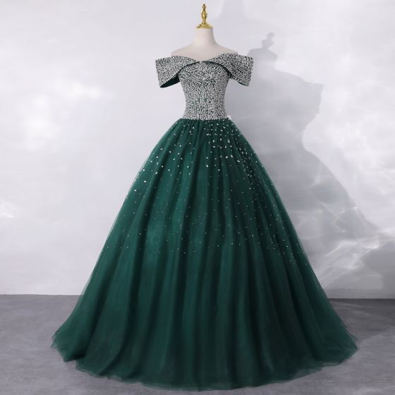 High-end Dark Green Dancing Prom Dresses 2020 A-Line / Princess Off-The-Shoulder Short Sleeve Sequins Floor-Length / Long Ruffle Backless Formal Dresses