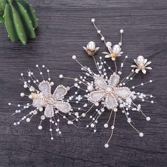 Chic / Belle Doré Accessoire Cheveux Mariage 2019 Métal Accessoire Cheveux Fleur Faux Diamant Perle Accessorize