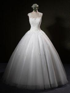 Piękne Suknie Ślubne 2016 Suknia Balowa Miarka Rhinestone Karku Aplikacja Koronki Płatki Rękawów Sukni Ślubnej
