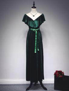 Elegante Meerjungfrau Abendkleider 2017 Rüsche Vansatz Bowknot Schärpeknöchellänge Kleid