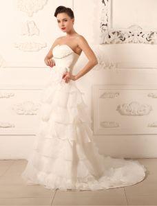 2015 A-line Sweetheart Beading Sweep Train Ruffle Organza Wedding Dress