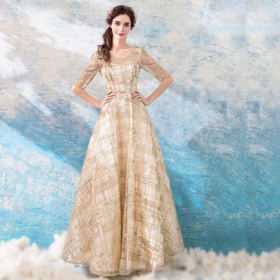 e8b6d42122 Piękne Złote Sukienki Wieczorowe 2018 Princessa Długie U-Szyja Tiulowe  Aplikacje Bez Pleców Frezowanie Cekinami Wieczorowe Sukienki Wizytowe