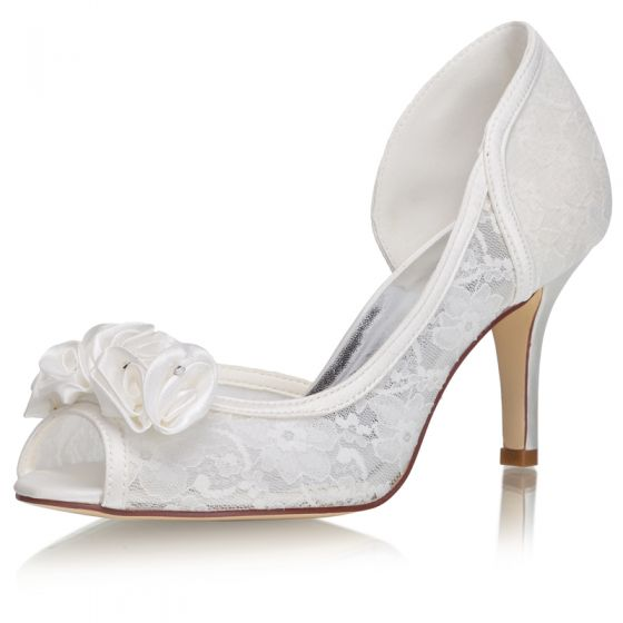 Charming Ivory Satin Wedding Shoes 2021 Lace Flower Appliques 8 cm Stiletto Heels Open / Peep Toe Wedding Sandals High Heels