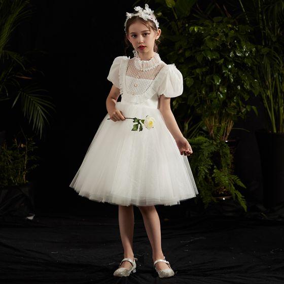 Vintage / Retro White Flower Girl Dresses 2020 Ball Gown High Neck Puffy Short Sleeve Beading Knee-Length Ruffle