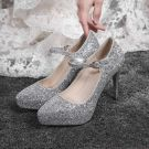 Sparkly Silver Wedding Shoes 2019 Sequins Buckle 12 cm Stiletto Heels Pointed Toe Pumps