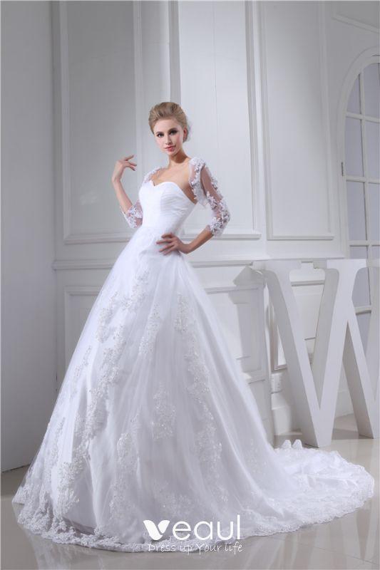 Vestido De Novia Blanco Con Encanto Escote Corazón Vestido De Fiesta De Novia De Encaje Con Lentejuelas