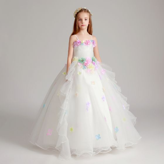 Flower Fairy Artificial Flowers White Wedding Party Dresses 2017 Ball Gown Spaghetti Straps Sleeveless Appliques Flower Floor-Length / Long Ruffle Flower Girl Dresses
