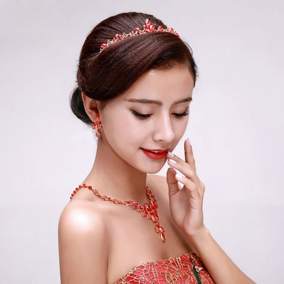 Rhinestone Chinese Style Bridal Headpieces / Earring / Necklace Three-piece