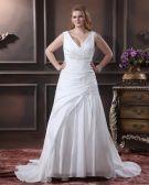 Satin Beading Applique V Neck Sweep Plus Size Bridal Gown Wedding Dress